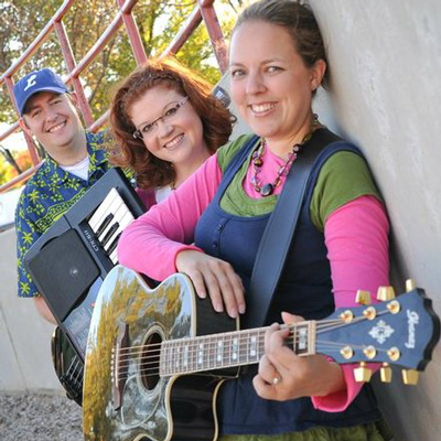 musicians posing with guitar and keyboard