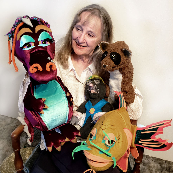 dragon and fish puppets with Markie Scholz