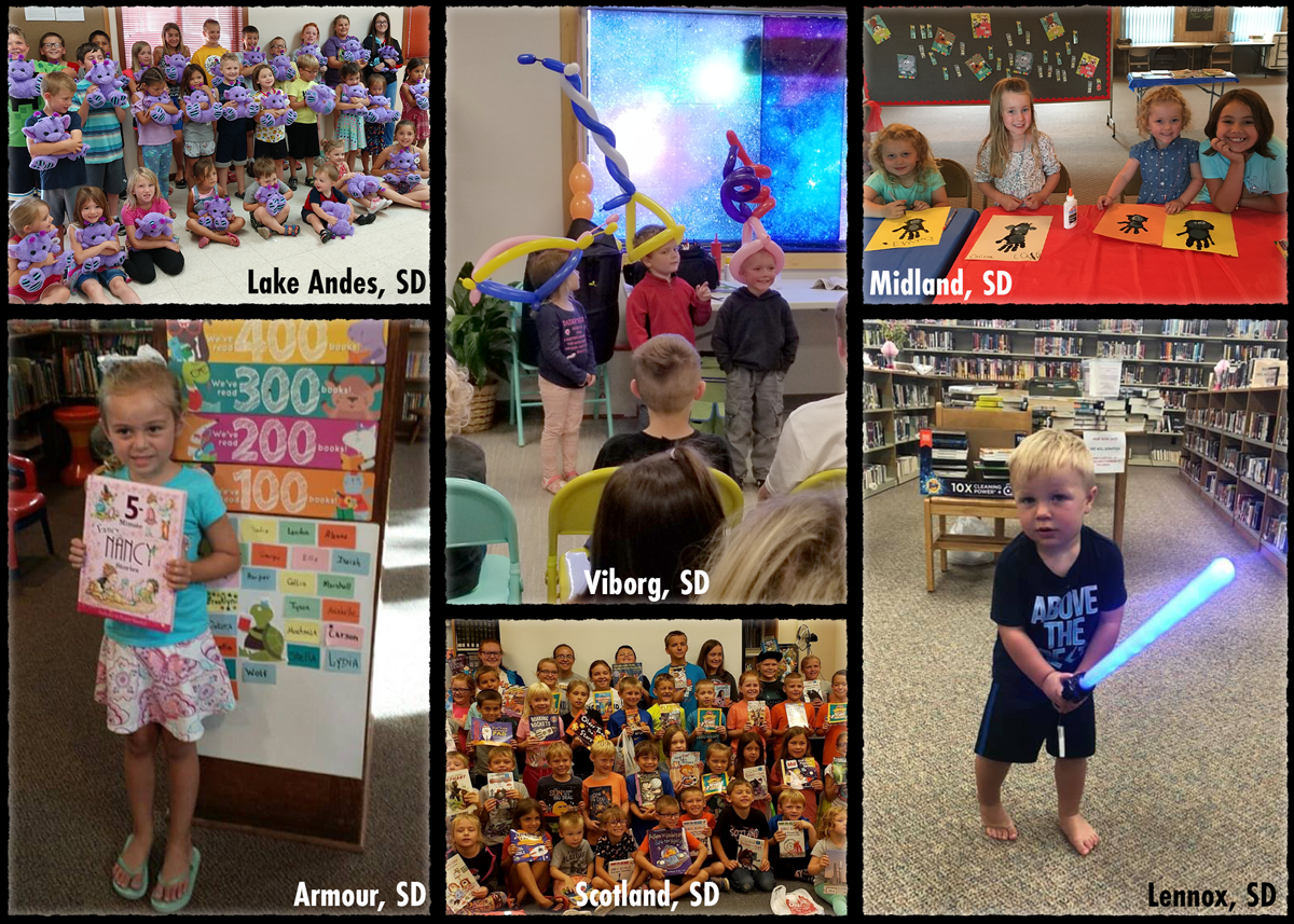 collage of photos of kids in 2019 summer reading programs from Lake Andes, Viborg, Midland, Armour, Scotland and Lennox
