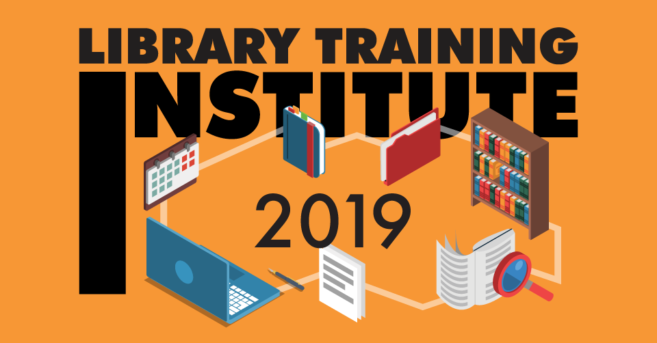 Library Training Institute 2019 logo - orange with book shelves, papers, calendar, computer