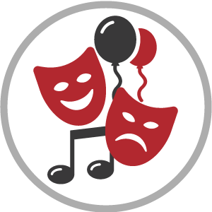 music, balloons, and theater masks