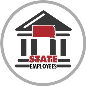 building icon with south dakota shape and words state employees