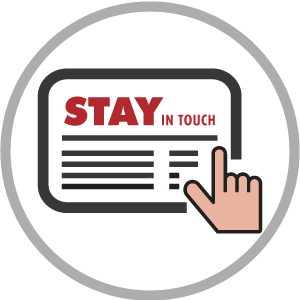 stay in touch newsletter on tablet device with touching hand