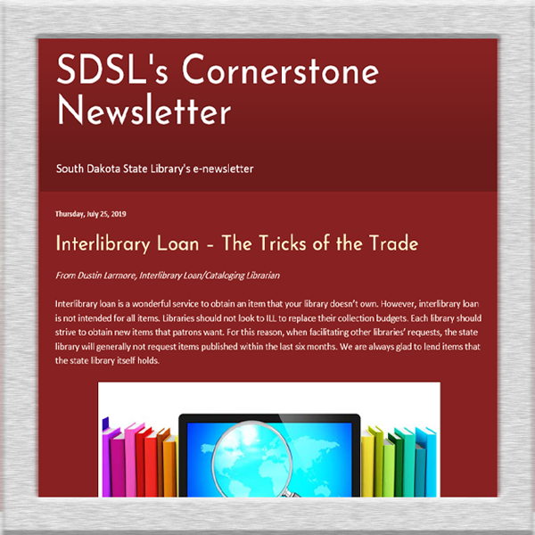 screenshot of cornerstone newsletter