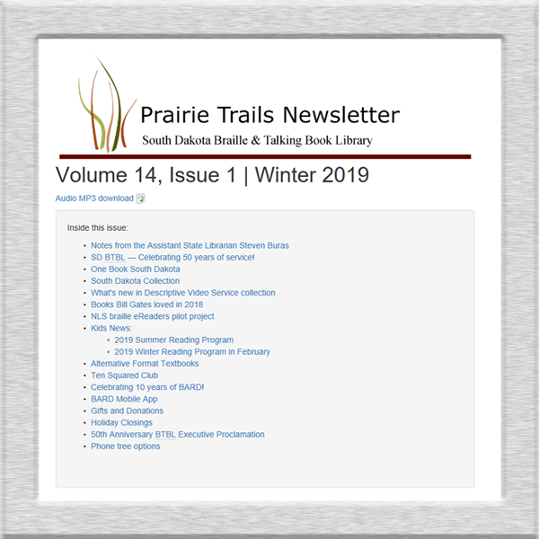 screenshot of prairie trails newsletter